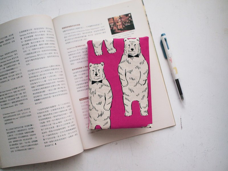 Hairmo bow tie bear handmade book / book cover - pink (notebook / diary / PDA)