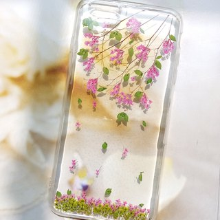 Pressed flowers phone case, Fit for iPhone 6 plus,iPhone 6s plus, Pink plum