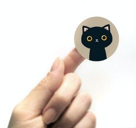 & Cabinet cat round sticker