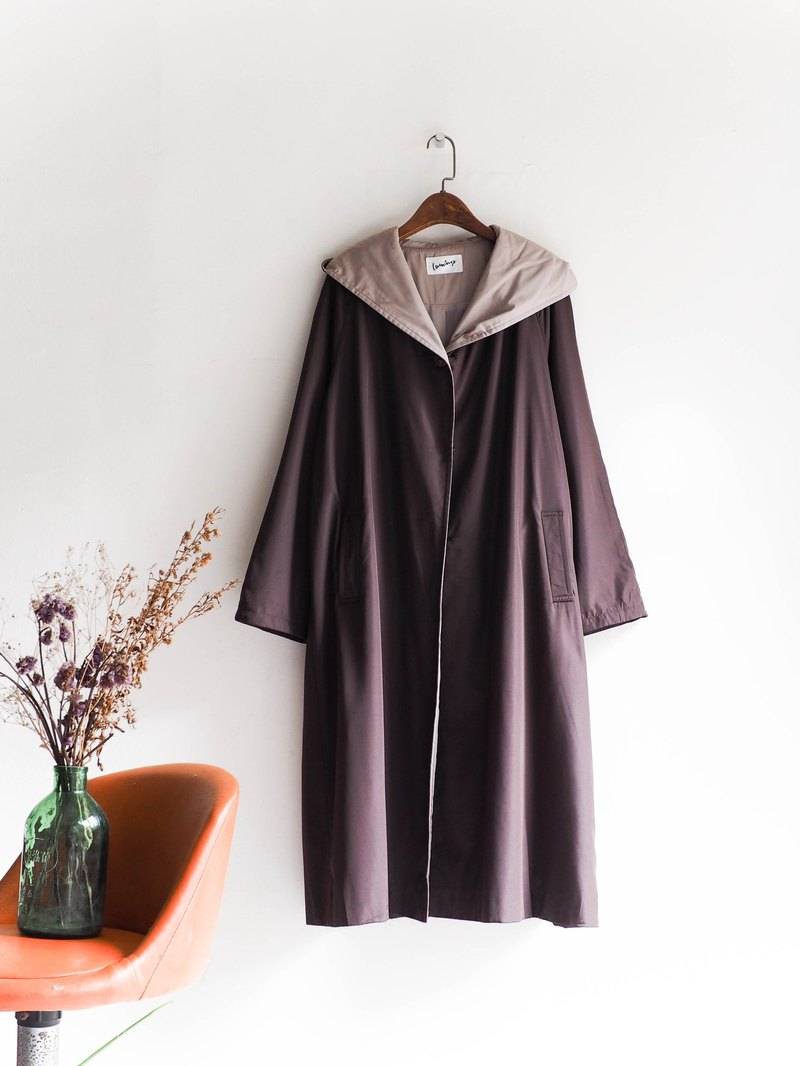 河水山 - 宮崎巧克力午茶甜心時光 古董連帽薄料風衣外套 trench_coat dustcoat jacket coat oversize vintage