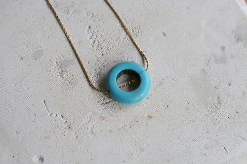 // Turquoise simple 圏 type necklace