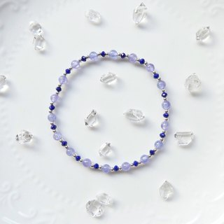 Limited to 1 item. Danquan stone x lapis lazuli silver beads elastic bracelet