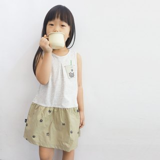 [Cat's pearl milk tea] girls stitching dress