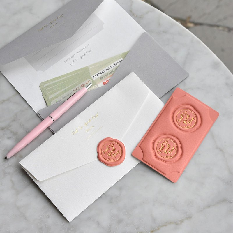 PLEPIC Good Classic Leather Wax Seal Universal Envelope Bag Set - Coral Powder, PPC95703