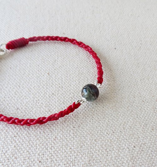 Sterling silver [red and green secluded crystal] silk wax line bracelet ~ [change into eight shares] a total of 2 ~ lucky