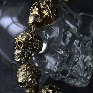 Old School Graphic Skull Heads Charm Bracelet - Statement Jewelry - Original made and designed by Defy