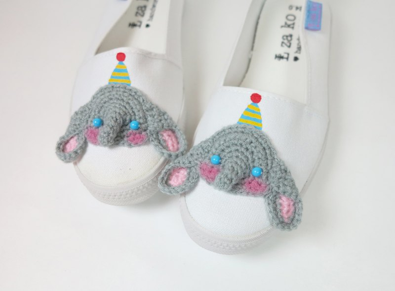 White cotton canvas hand-made shoes color cap like children's non-woven models