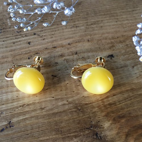 Soft marble color earrings (Yellow)