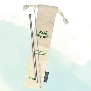 [KROLL] pure titanium small straw set - fine (pipette + cleaning brush + harness pocket) made in Taiwan