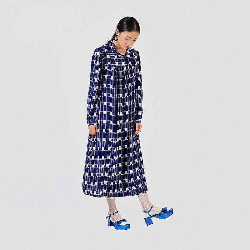 【蛋植物古着】太平洋藍格印花傘狀古著洋裝