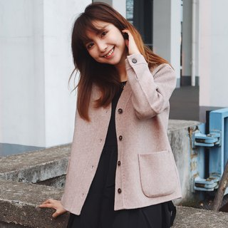 Double-sided 藕 pink coat short paragraph drop shoulder big pocket thick autumn and winter new products