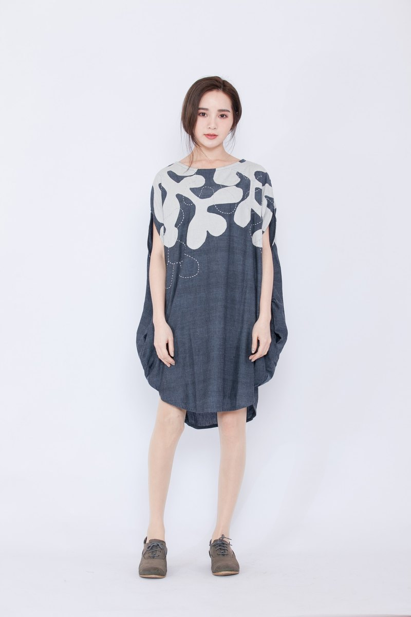 Oval Geometric Dress - Night Garden Embroidery - Fair Trade