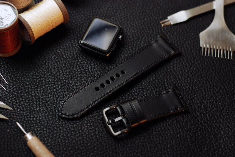 [Limited offer extended] applewatch leather hand strap strap - black [buttero]