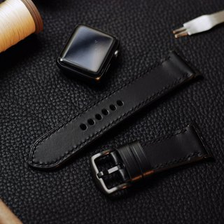 Applewatch leather hand strap strap - black [Italian Association certification] [buttero]