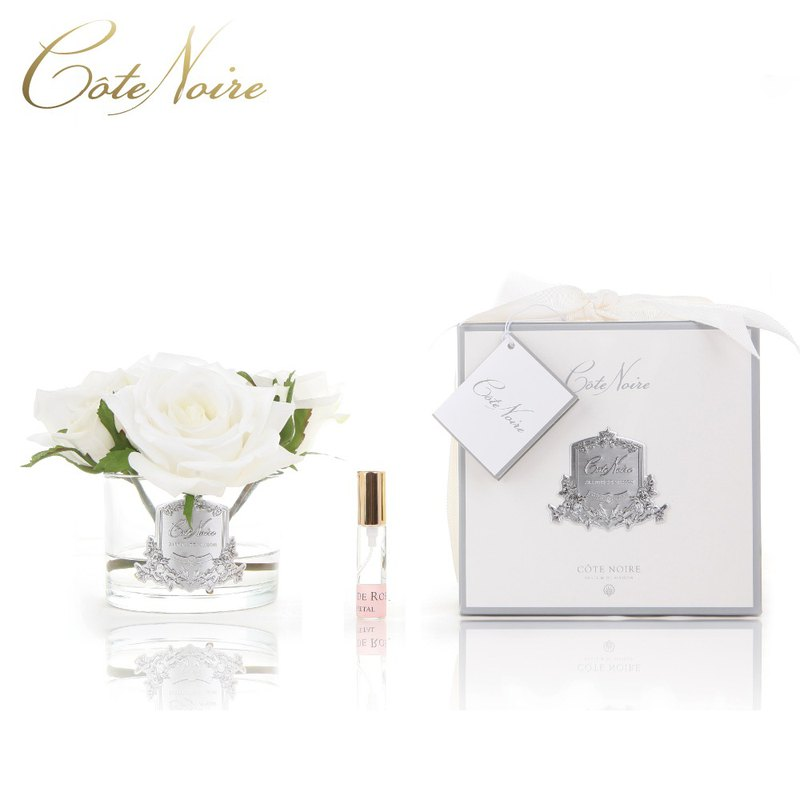 French Côte Noire 蔻 五 five ivory white rose fragrance flower transparent bottle