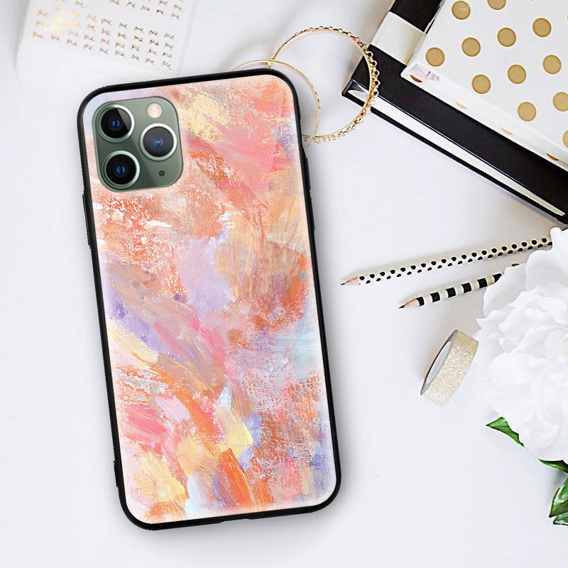 Abstract Oil Paint Pink Glossy phone case iPhone 11 Pro XR Max Samsung Huawei