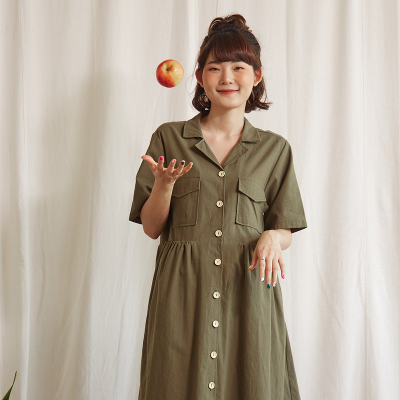 Hawaii Summer Dress in Olive Green Colour