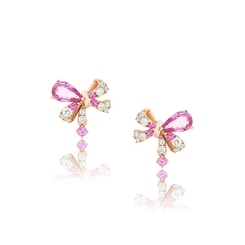 [brilliantia] 10K Pink Crystal Bow - Earrings - (ET0142)