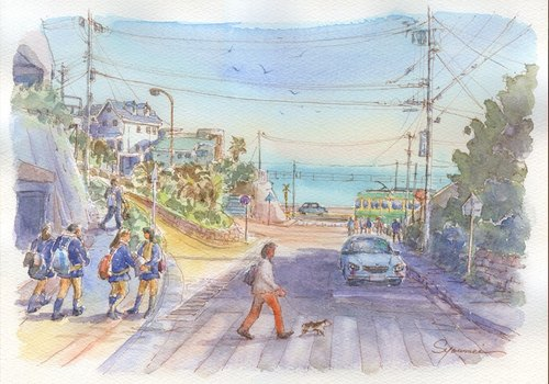 Watercolor picture Ena electronics' Kamakura high school railway crossing at the front station A
