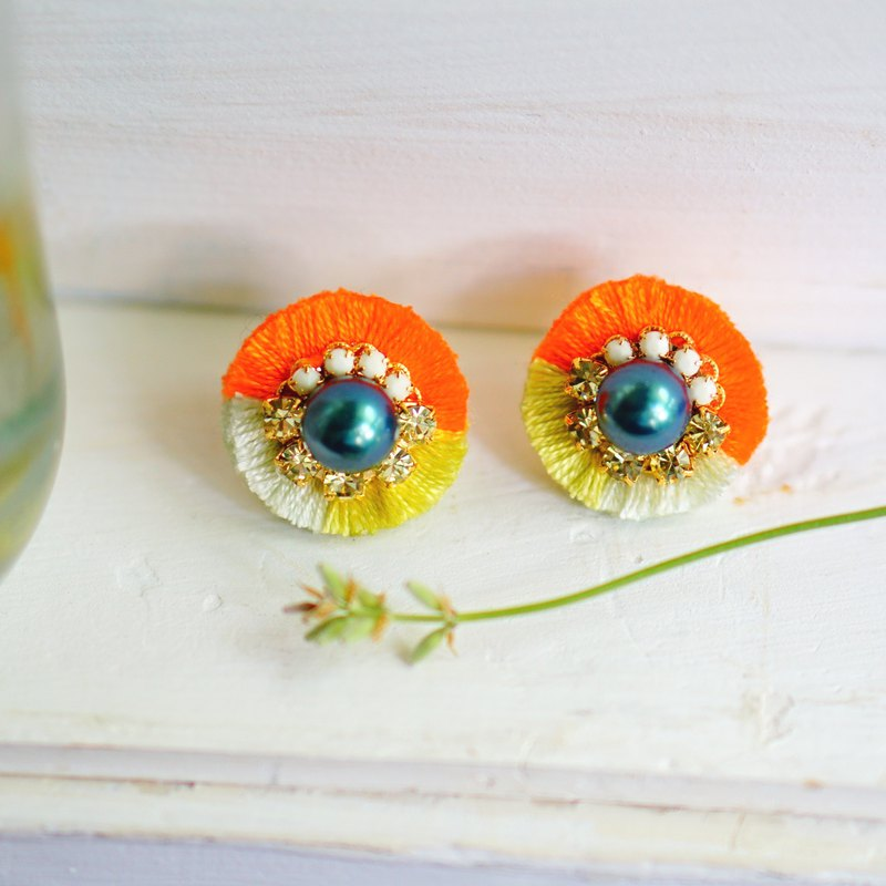 Silk Fringe Post Earrings / Clip On Earrings Tahiti
