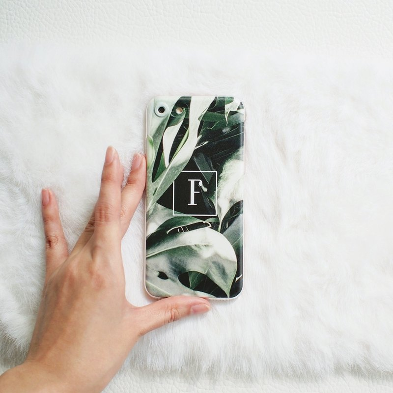 Monstera Leaf + Your Initial- Clear Soft Case, iPhone, Samsung