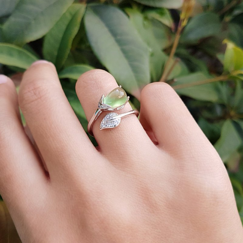 Belle Blossoming Grape Prehnite 925 Silver Ring Opening Forefinger Ring Ring Adjustable