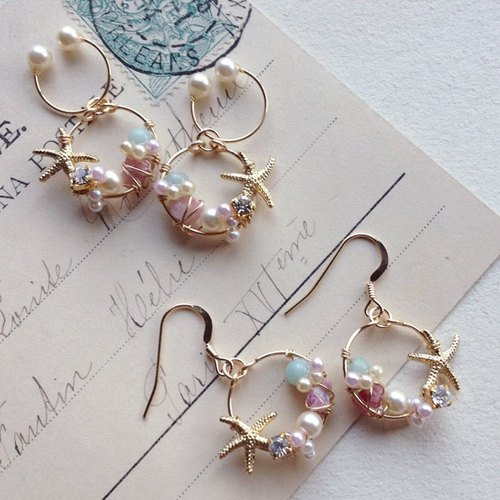Hoop earrings OR Nonhorupiasu of 14kgf Vintage Pearl and Starfish [ii-388]
