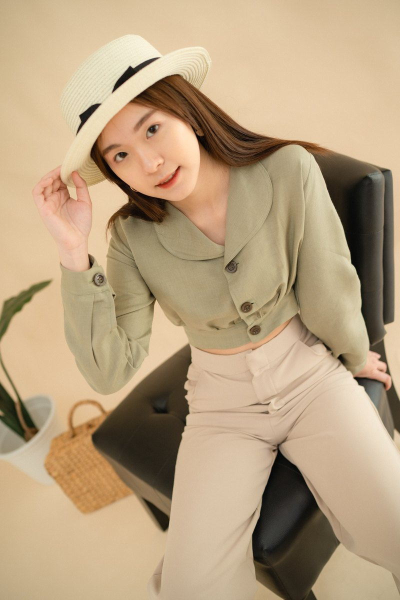Peter Pan Collar Top - Green Tea