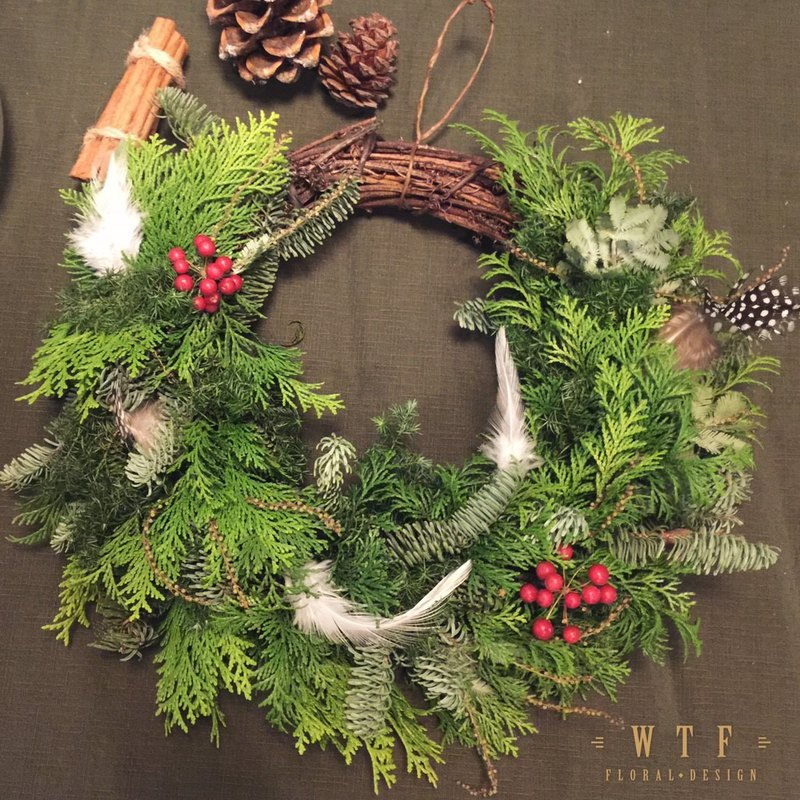 =WTF= Feather you see Christmas wreath 20cm M Christmas gift