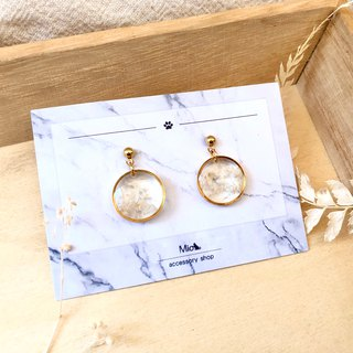 [Flower full moon] white color dry flower series earrings (can be changed ear clip)
