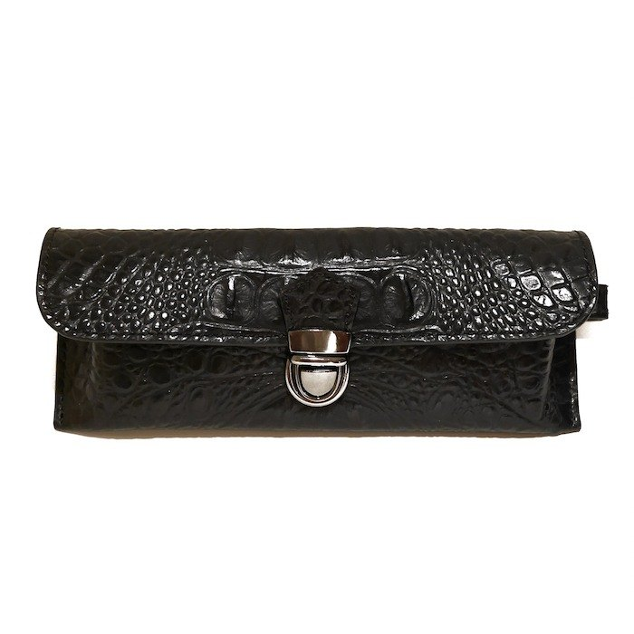 Glasses bag - Black crocodile leather