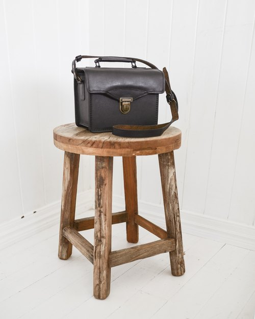 Camino vintage leather camera bag / party bag black