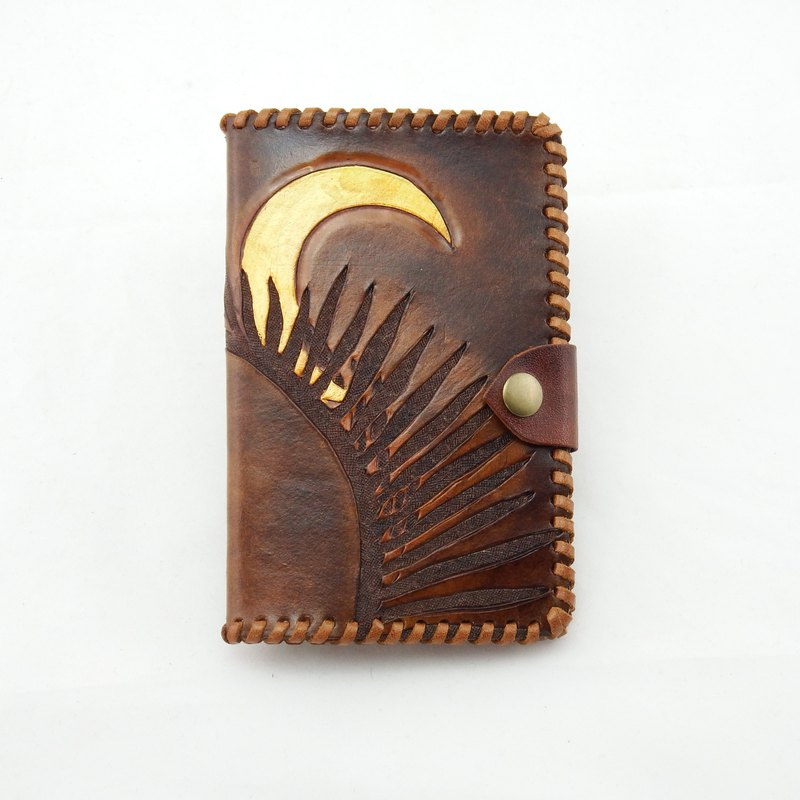 Mountain Brown Moon (Shadow Carving) Leather Passport Clip