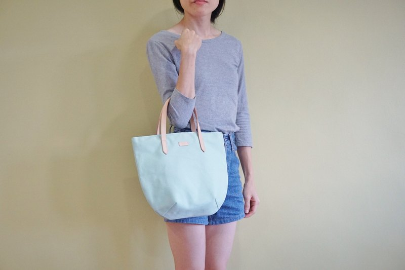 Pastel Mint Petite Canvas Tote Bag with Leather Strap for her - Chic Casual Bag