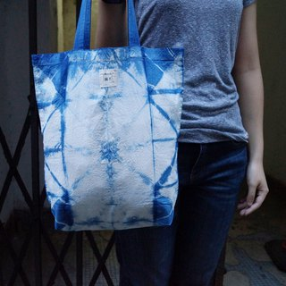 Indigo Hand-dyed Shopping Bag - ブロック Block
