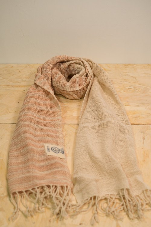 EARTH.er │Natural Dyed Scarf (White+Pink)│