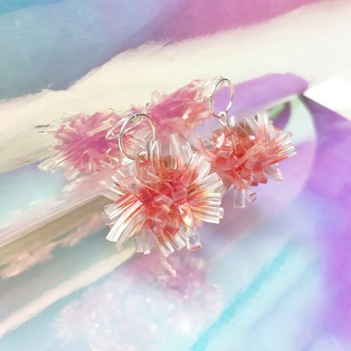 Orange Red Translucent Crystal Coral Sterling Silver Earrings