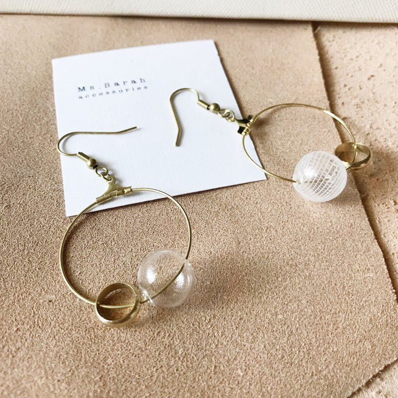Glass Bubble_Brass Earrings_Japanese Aesthetics (Can be changed)