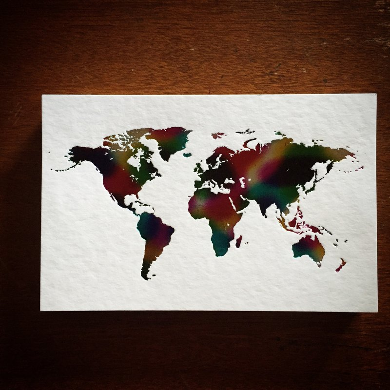 World Map Postcard / White Card Hot Rainbow