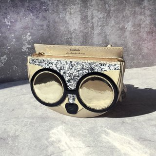 Britney Light Gold Amethyst Glasses Fox Crossbody Bag
