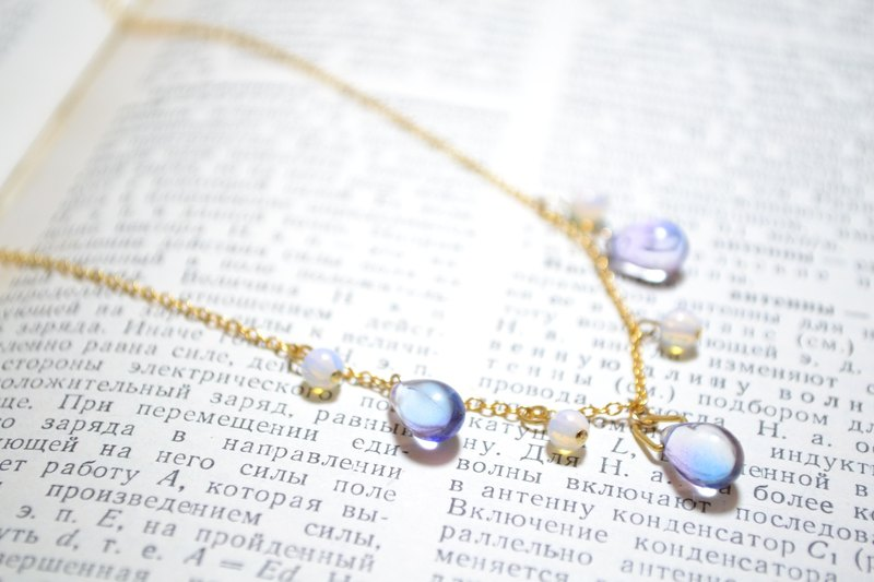 Light Jewelery | Water Drops Blue Purple Color Change Moon Stone Czech Glass Bead Necklace