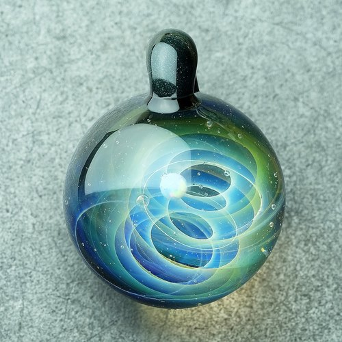 Universe Planets Space Handmade Lampwork Glass Pendant