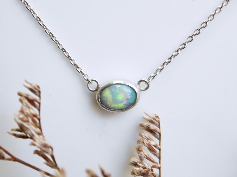Australian Opal Sterling Silver Necklace-Orange Green Glitter