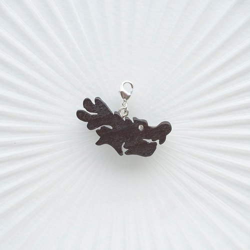 Dragon wooden charm (can choose gold / silver plated Lobster clasp)