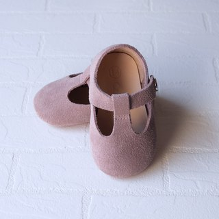 Baby Girl Shoes, Baby Moccasins, Dusty Rose Leather Mary Jane T Strap