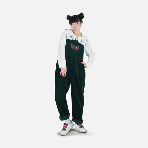 A‧PRANK: DOLLY :: VINTAGE retro with small dark green plaid patchwork corduroy pants coveralls Sling