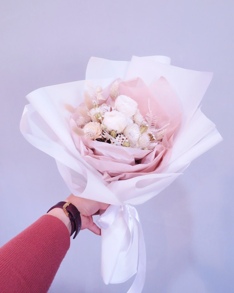 One Flower Korean Bouquet Pure White Garden Rose Eternal Bouquet Dry Bouquet Valentine's Day