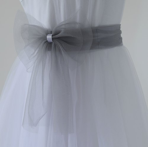 Tutu Studio Accessory _ Gray gauze bow belt