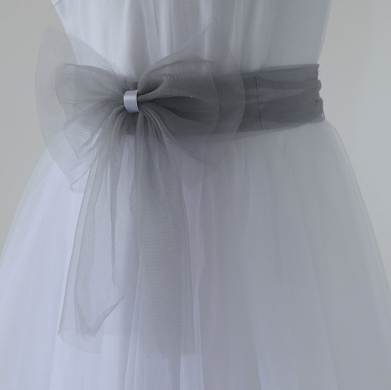 Tutu Studio Accessories Single Item_Gray Mesh Bow Belt