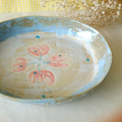 Flowers blossoming open plate dessert plate oval dish